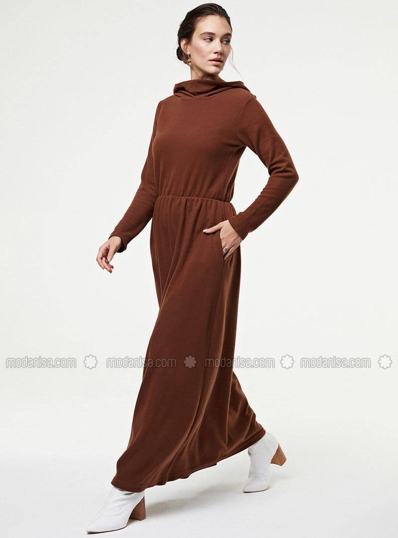 Brown - Unlined - Cotton - - Knit Dresses