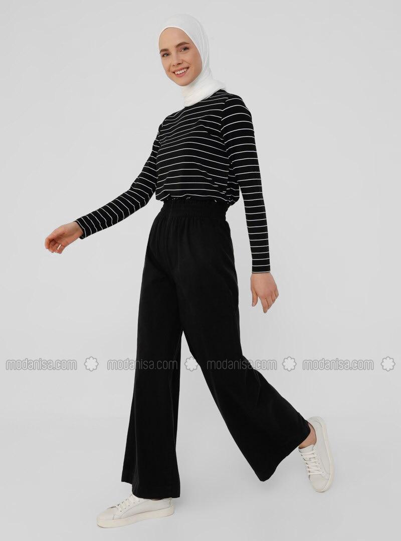 Natural Fabric Elastic Waist Trousers - Black - Everyday Basic