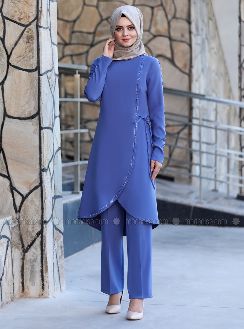 Unlined - Baby Blue - Crew neck - Crepe - Evening Suit