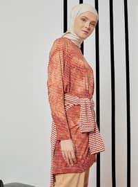 Orange - Stripe - Crew neck - Viscose - Tunic