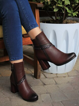 Maroon - Boot - Boots - ADDİS SHOES