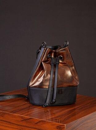Polyurethane - Copper - Black - Satchel - Shoulder Bags