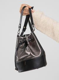 Polyurethane - Silver - Black - Satchel - Shoulder Bags