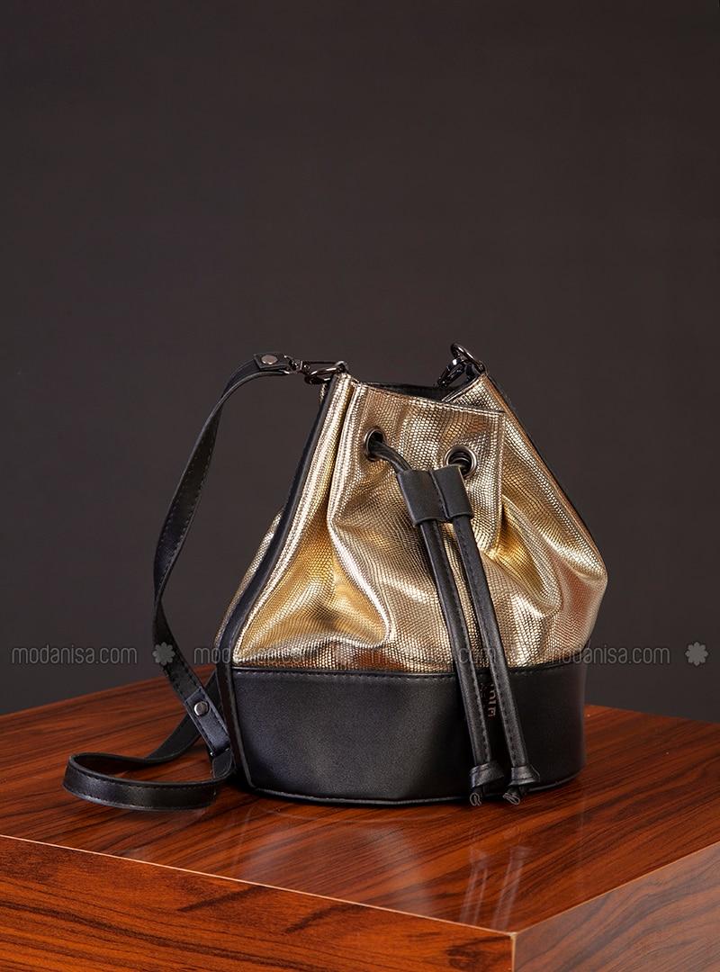 Polyurethane - Gold - Black - Satchel - Shoulder Bags