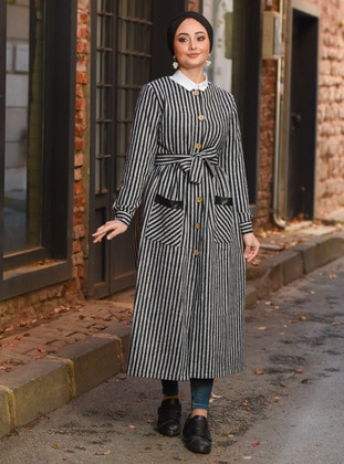 Gray - Stripe - Unlined - Crew neck - Topcoat
