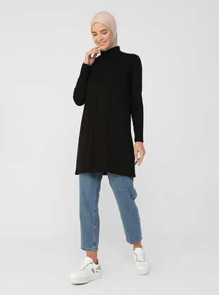 Black - Polo neck - Tunic - Refka Basic