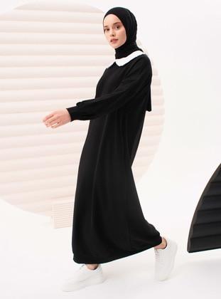 Black - Crew neck - Cotton - Dress