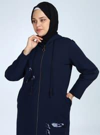 Navy Blue - Unlined - Acrylic - Wool Blend - Topcoat