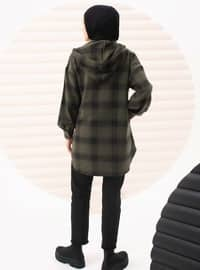 Khaki - Plaid - Unlined - Cotton - Topcoat