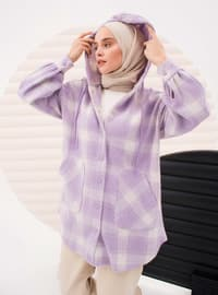 Lilac - Checkered - Unlined - Cotton - Topcoat