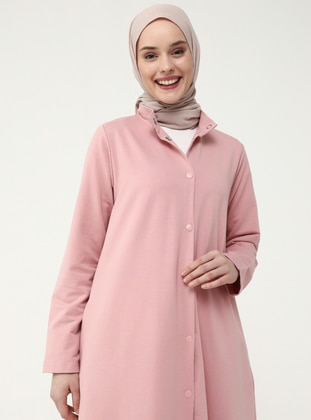 Snap Fastener Mandarin Collar Cape - Dark Pink - Casual