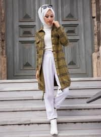 Mustard - Plaid - Point Collar - Cotton - Tunic