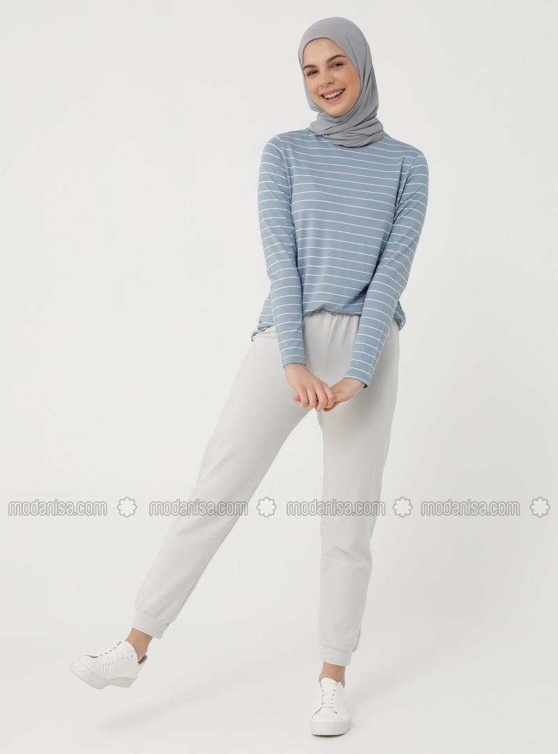 Elastic Waist Track Pants - Cold Gray