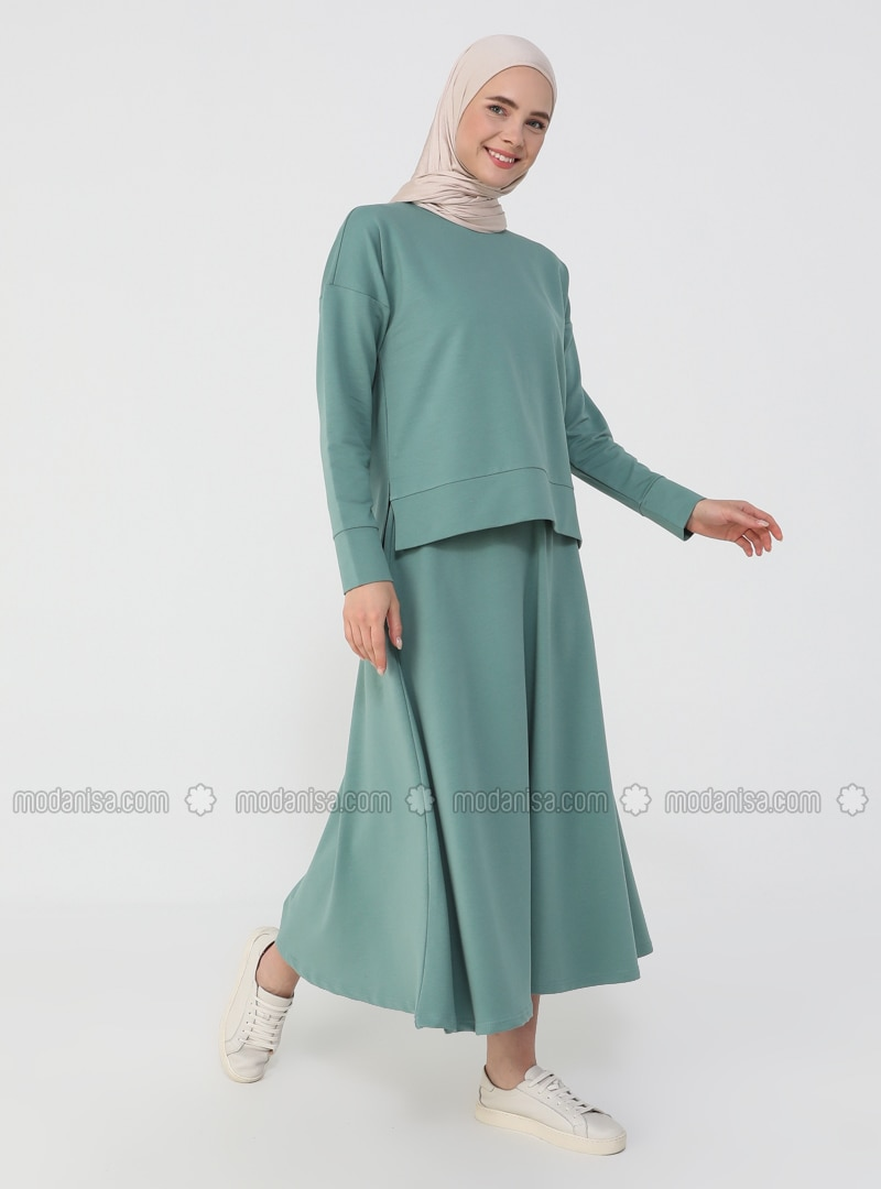 Tunic&Skirt Set - Almond Green - Basic