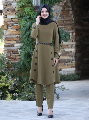 Olive Green - Unlined - Crepe - Suit