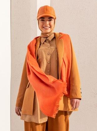 Orange - Printed - Shawl Wrap