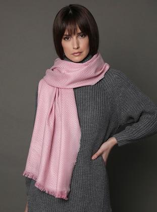 Cream - Pink - Printed - Shawl Wrap