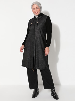 Black - Unlined - Crew neck - Cotton - Plus Size Coat