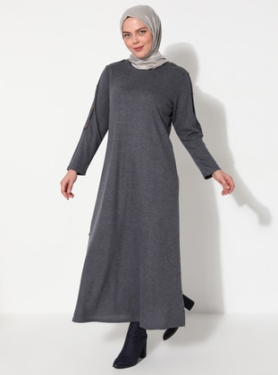 Blue - Unlined - Crew neck - Cotton - Viscose - Plus Size Dress