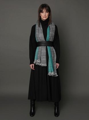 Black - Green - Printed - Shawl Wrap