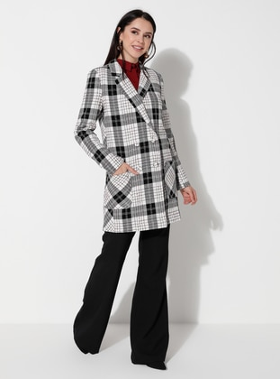 White - Plaid - Unlined - V neck Collar - Jacket