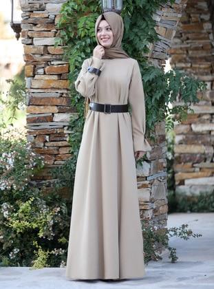 Beige - Unlined - Crew neck - Crepe - Muslim Evening Dress