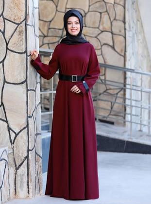 Maroon - Unlined - Crew neck - Crepe - Muslim Evening Dress