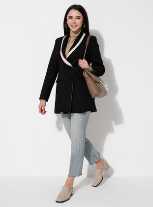 Black - Fully Lined - V neck Collar - Jacket
