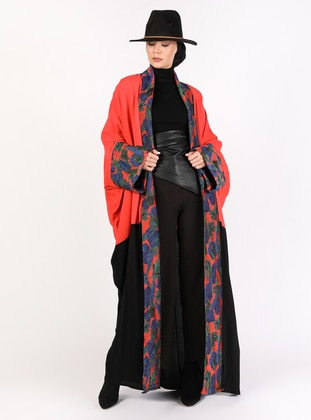 Coral - Black - Unlined - Shawl Collar - Abaya