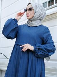 Mavi - Yuvarlak yakalı - Elbise