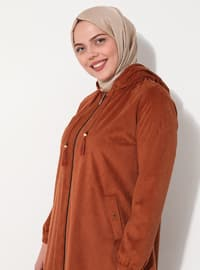 Tan - Unlined - Cotton - Plus Size Coat