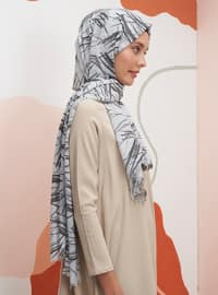 Silver tone - Printed - Shawl