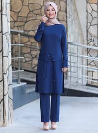 Unlined - Indigo - Blue - Crew neck - Crepe - Evening Suit