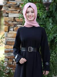 Black - Unlined - Crew neck - Crepe - Muslim Evening Dress