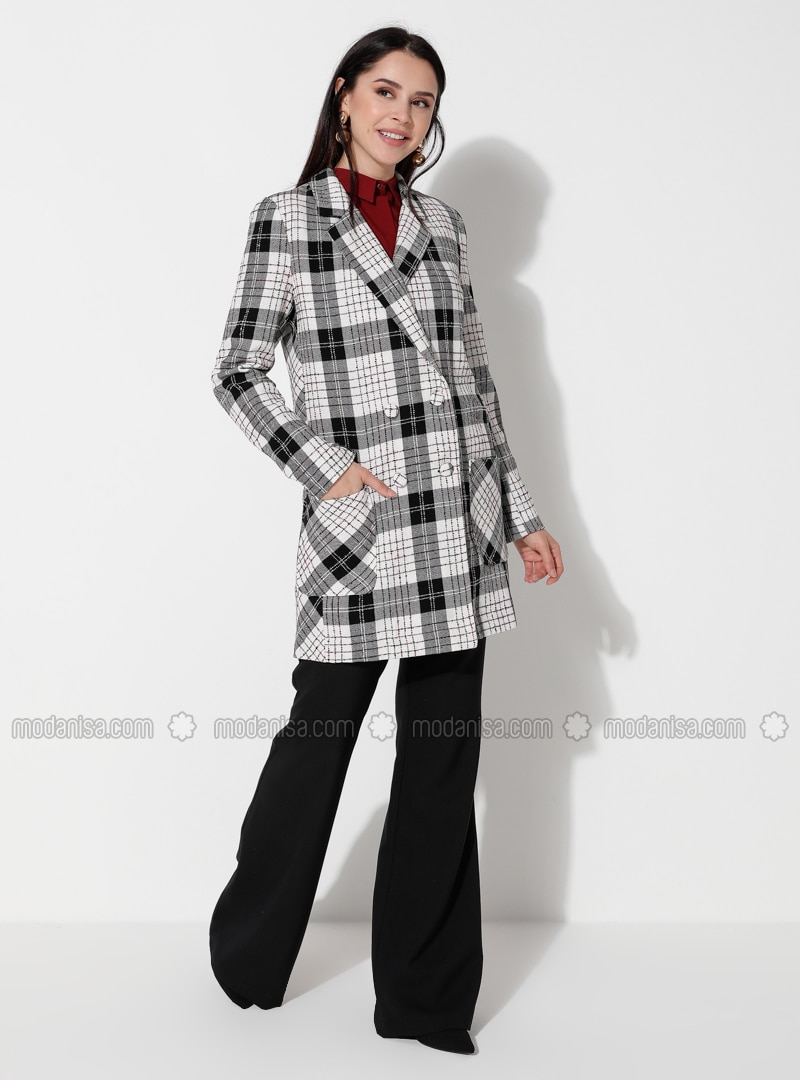 White - Plaid - Unlined - V neck Collar - Blazer Jacket