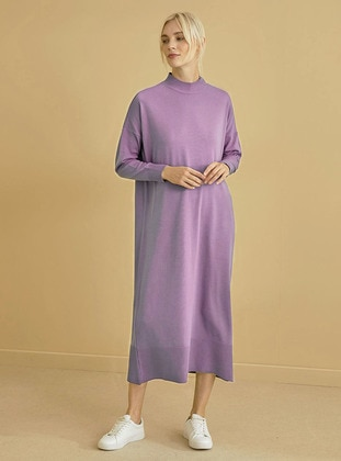 Lilac - Unlined - Polo neck - Acrylic -  - Knit Dresses