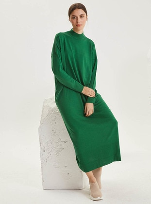 Green - Unlined - Polo neck - Acrylic -  - Knit Dresses