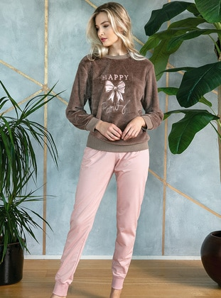 Brown - Crew neck - Pyjama Set