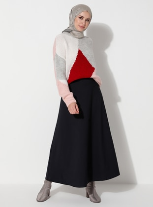 Navy Blue - Unlined - Skirt