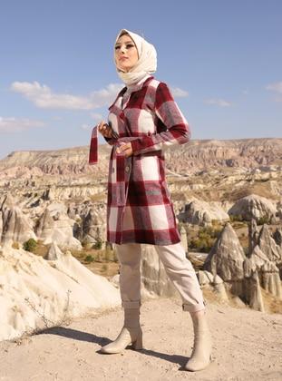 Maroon - Checkered - Unlined - Shawl Collar - Topcoat