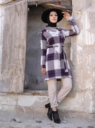 Plum - Checkered - Unlined - Shawl Collar - Topcoat
