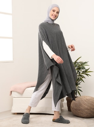 Anthracite - Crew neck - Unlined - Poncho
