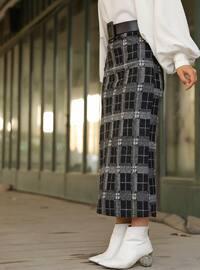 Gray - Black - Checkered - Unlined - Skirt