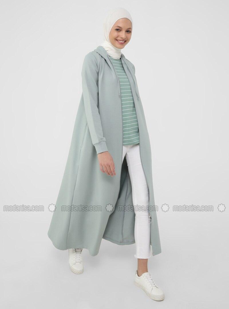 Hood Detailed Zippered Sports Topcoat- Green Almond