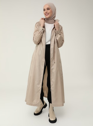 Zipper and Lace Detailed High Collar Trench Coat - Beige - Casual