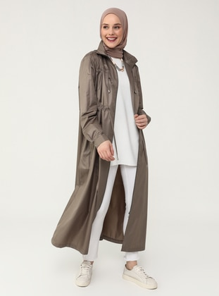 Zipper and Lace Detailed High Collar Trench Coat - Mink - Refka Casual