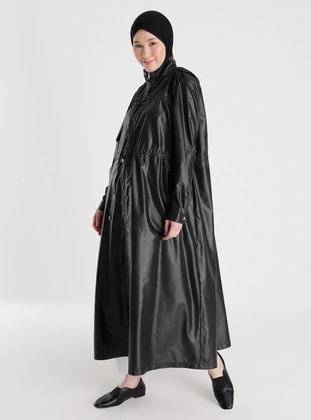 Zipper and Lace Detailed High Collar Trench Coat - Black - Casual