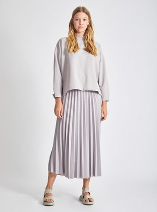 Gray - Unlined -  - Skirt