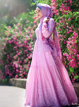 Pink - Fully Lined - Polo neck - Pink - Fully Lined - Polo neck - Cotton - Modest Evening Dress
