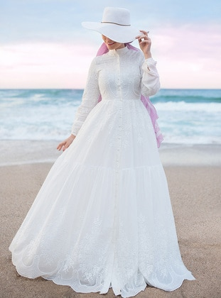 White - Ecru - Fully Lined - Polo neck - Modest Evening Dress